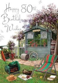 Garden- 80th age male birthday card. Retail $3.99. Unit Quantity 6. Inside: Eighty years and what a life you've lived...