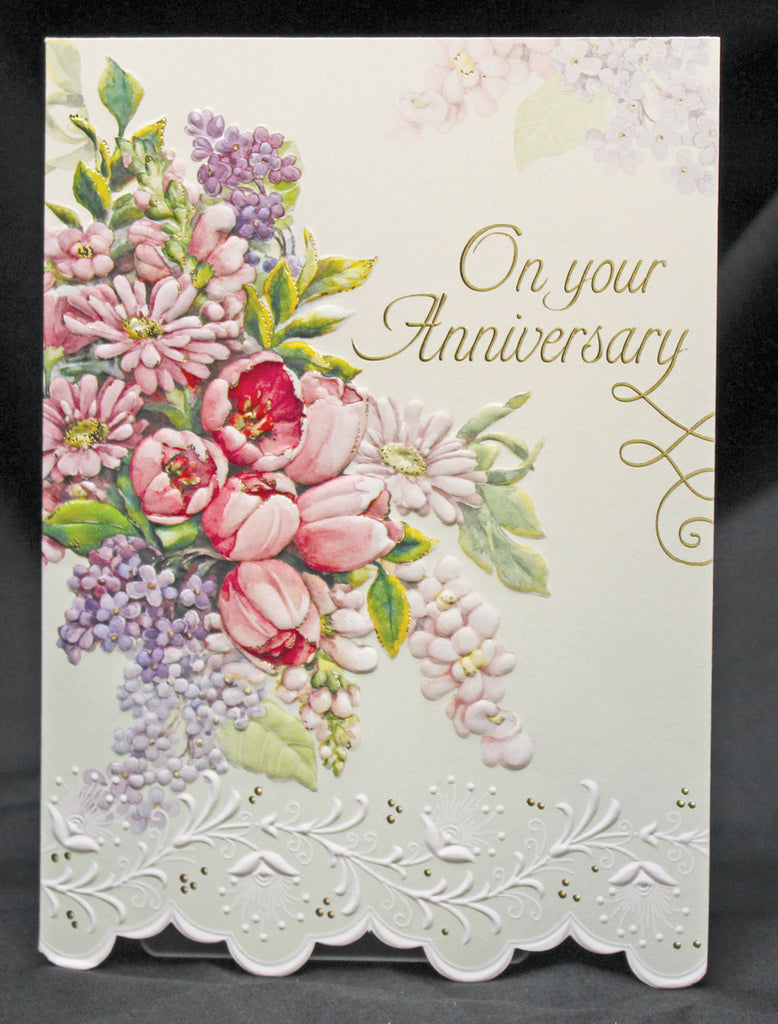 Lilac and Tulip embossed die cut anniversary greeting card from Carol Wilson Fine Arts, Inside: Best wishes for happiness on your anniversary, Retail: $4.99 Unit pack 6