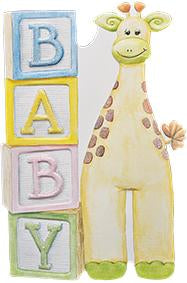 Happy giraffe with BABY blocks embossed die cut new baby greeting card from Carol Wilson Fine Arts Inside: A new little one to celebrate and treasure. Retail: $4.99 Unit pack 6
