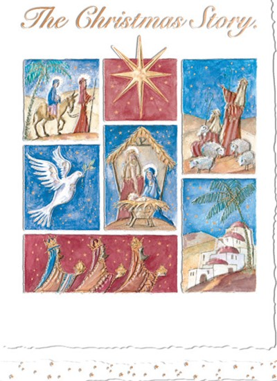 CHRISTMAS CARD-THE CHRISTMAS STORY Retail: $3.49 Unit pack 4 Inside: With best wishes for Christmas...