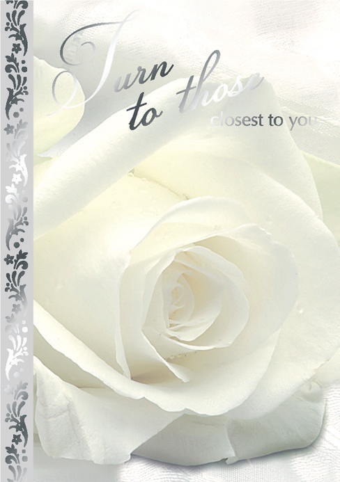 Cream rose- Sympathy greeting card. Retail: $2.99. Unit pack: 6. Inside: May the support and compassion around you ease your heart...
