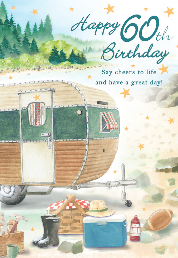 60TH Camper themed Male brithday greeting card. Inside: Sending the happiest of wishes to you on your birthday! Unit pack of 6 cards. Retail $3.99