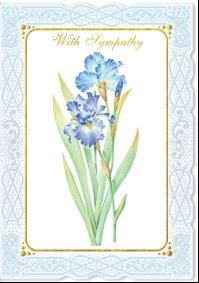 White lace border with purple iris stem blank embossed, die-cut greeting card from Carol Wilson Fine Arts. Retail: $4.25 Unit pack 6