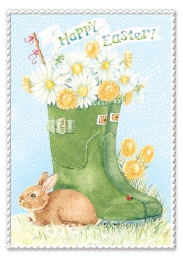 RAIN BOOTS AND EASTER BUNNY HAPPY EASTER greeting card