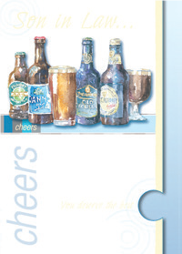 Beers- Son-in-law family birthday card. Retail $3.49. Unit Quantity 6. Inside: .For the happiness you have given our daughter, for the joy you bring us...