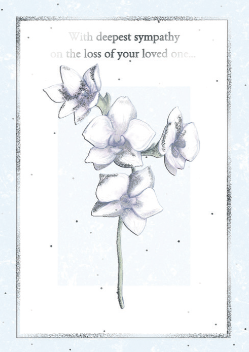 Orchid stem- Sympathy greeting card. Retail: $3.99. Unit pack: 6. Inside: Although no words can really help to ease your loss...