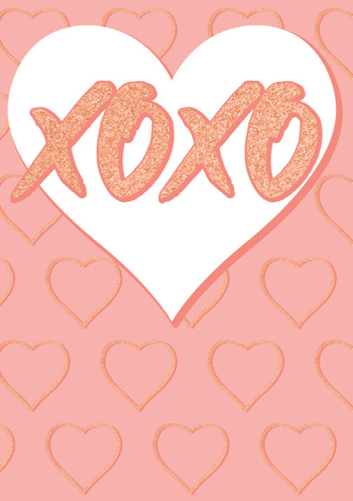 XOXO blank card from the Glitz collection. Retail $3.99. Unit Quantity 6. Inside: Blank