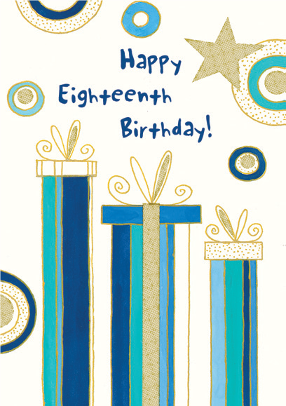 Blue striped gifts- 18th age male birthday card. Retail $3.49. Unit Quantity 6. Inside: Hope this special day is perfect.