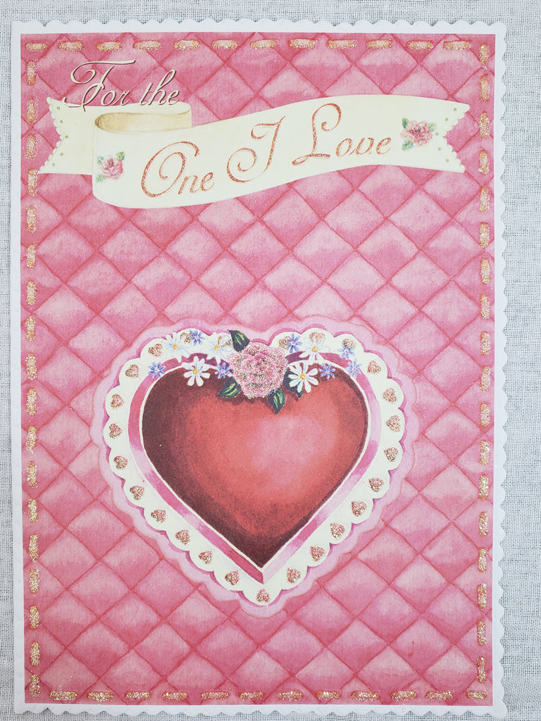 Quilted background- Carol Wilson Valentine's greeting card. Unit Quantity: 3. Retail: $4.25. Inside: May this special day be as beautiful as you...