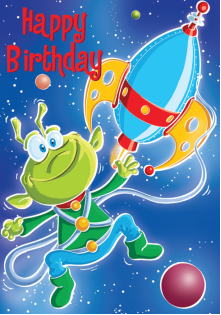Aliens- Kid Birthday card. Retail $2.59. Unit Quantity 6. Inside: Hope your birthday is extraterrestrial, and extra special too!