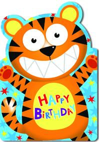 Tiger- Kid Birthday card. Retail $2.99. Unit Quantity 6. Inside: Wishing you a WILD and fun birthday!