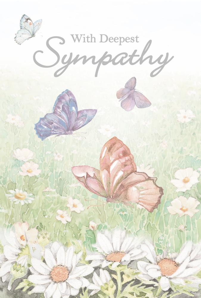 Daisy, butterfly themed sympathy greeting card. Inside: May you fine comfort in the loving memories.  Unit pack of 6 cards. Retail $3.99