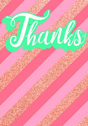 Thank you card from the Glitz collection. Retail $3.99. Unit Quantity 6. Inside: Blank
