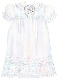White embossed die cut Christening gown greeting card from Carol Wilson Fine Arts. Inside: On baby's Christening, may baby's life be forever blessed. Retail: $4.25, Unit pack 6