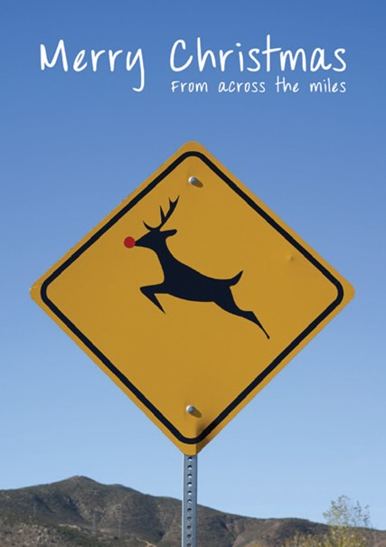 CHRISTMAS CARD REINDEER CROSSING Retail: $2.99 Unit pack 4 Inside: Wishing you a wonderful holiday...
