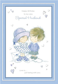Blue boy and girl- Husband family birthday card. Retail $3.49. Unit Quantity 6. Inside: Love is ageless, love is timeless, love is meant to be...
