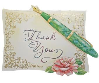 Gold foil accenting and a classic fountain pen depict this classic thank you card from Carol Wilson Fine Arts. Inside: ....so very much! Retail: $4.25 Unit pack 6