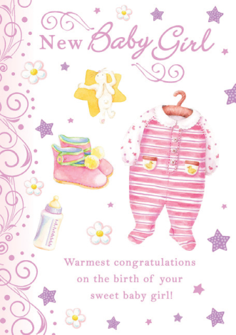 Pink baby onsie new BABY GIRL greeting card. Inside: Congratulations on the safe and happy arrival of your new baby girl.  Unit pack of 6 cards. Retail $3.99