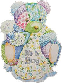 Blue shaped bear new boy baby greeting card from Carol Wilson Fine Arts Inside: Congratulations to you! Retail: $4.25 Unit pack 6