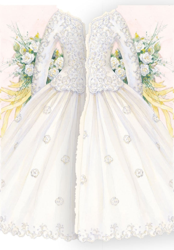 White and cream wedding dress shaped embossed die cut greeting card from Carol Wilson Fine Arts Inside: May love be with both of you today..... Retail: $4.25 Unit pack 6