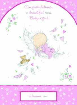 New baby girl fairy greeting card. Retail: $2.99 Unit pack 6 Inside: Special wishes to you!
