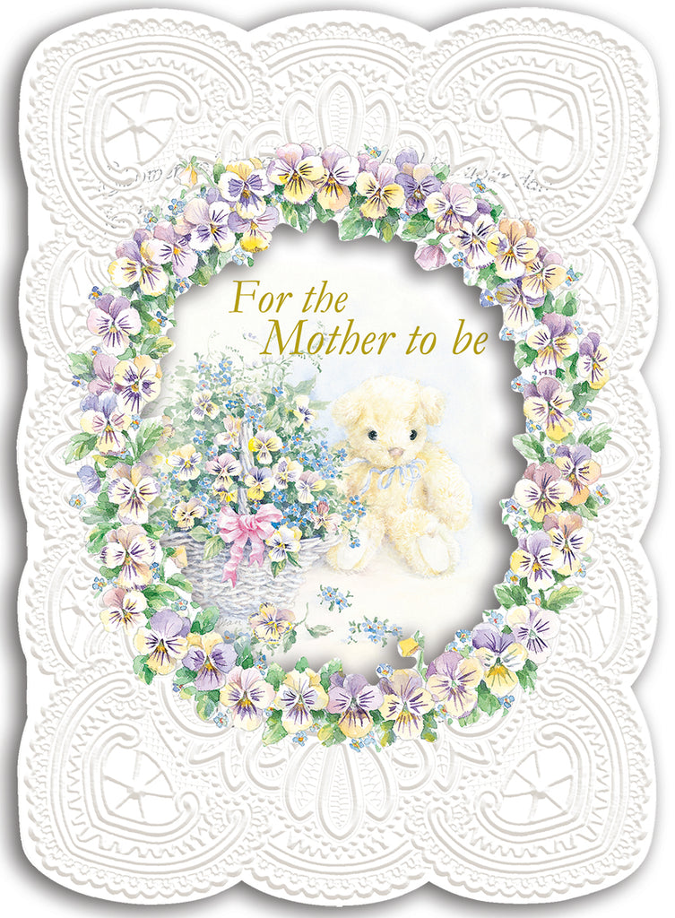 Teddy bear new mother-to-be embossed die cut greeting card from Carol Wilson Fine Arts. Inside: Showers of good wishes! Retail: $4.25 Unit pack 6