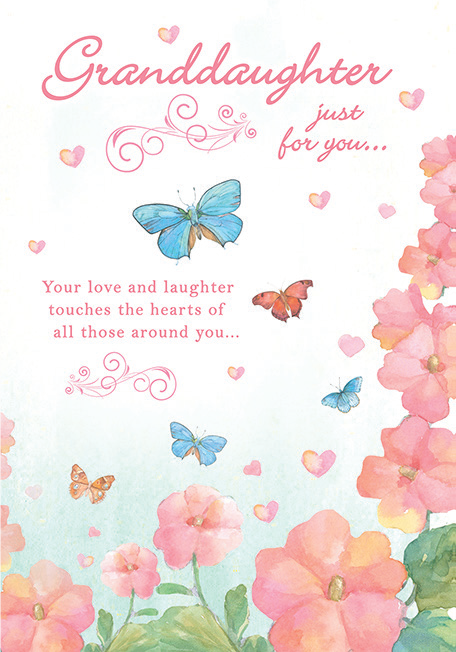 Floral themed GRANDDAUGHTER birthday greeting card. Inside: May today be filled with smiles, sunshine, happy memories. Unit pack of 6 cards. Retail $3.99