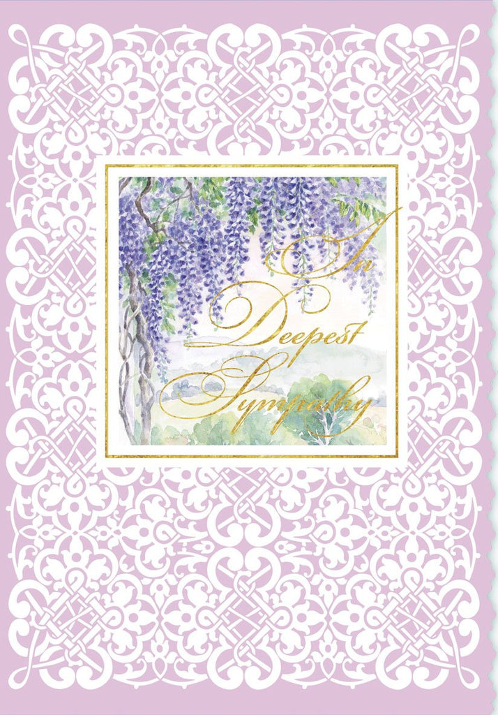 Purple wisteria and white lace border embossed die-cut sympathy greeting card from Carol Wilson Fine Arts. Inside:  Deepest sympathy during this sad time. Retail: $4.99. Unit pack of 6