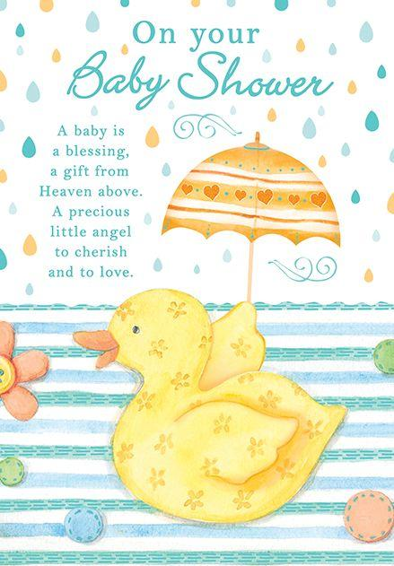 Duckie themed new BABY greeting card. Inside: Let's celebrate the arrival of your baby! Unit pack of 6 cards. Retail $3.99