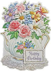 White porcelain teapot holds multi-colored floral bouquet, embossed die cut general birthday greeting card from Carol Wilson Fine Arts Inside: Wishing someone very special a beautiful day. Retail: $4.99 Unit pack 6