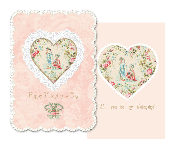 Peach and lace trim- Carol Wilson Valentine's greeting card. Unit Quantity: 6. Retail: $3.95. Inside: Will you be my valentine?