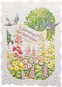 Birds and banner embossed die cut get well greeting card from Carol Wilson Fine Arts Inside: Sending sunshine and love to chase the blues away. Retail: $4.25 Unit pack 6
