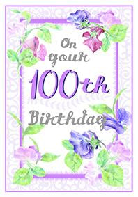Purple flowers-100th age female birthday card. Retail $3.49. Unit Quantity 6. Inside: Happy Birthday! It isn't everyday somebody turns 100 years old...