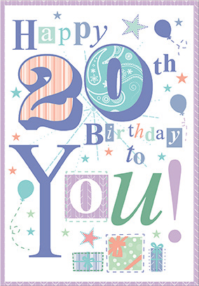 Colorful- 20th age general birthday card. Retail $3.49. Unit Quantity 6. Inside: Enjoy this special day of yours to the fullest...