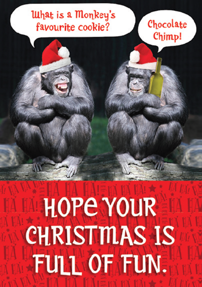CHRISTMAS CARD-CHIMPS CHRISTMAS PARTY Retail: $2.99 Unit pack 4 Inside: Happy Christmas