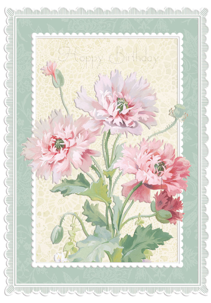 Carnations Happy Birthday greeting general birthday greeting card from Carol Wilson Fine Arts. Inside:   Retail: $3.50