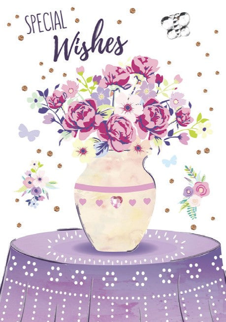 Fancy flower vase themed female birthday card from the Blush Collection by Carol Wilson Fine arts. Inside: ...Sending you a bouquet of birthday wishes! Unit pack of 6 cards. Retail: $4.49