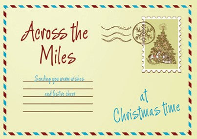 CHRISTMAS CARD-POSTCARD  Retail: $3.49 Unit pack 4 Inside: Even though you're far way...