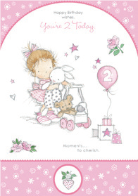 Girl with walker- 2nd age girl birthday card. Retail $2.99. Unit Quantity 6. Inside: Lets all sing Happy Birthday with a hip hip HOORAY!