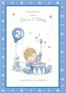 Boy with drum- 2nd age boy birthday card. Retail $2.99. Unit Quantity 6. Inside: Lets all sing Happy birthday with a hip hip HOORAY!