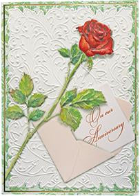 Single red rose embossed die cut anniversary greeting card from Carol Wilson Fine Arts Inside: Our love continues to grow. Retail: $4.25 Unit pack 6