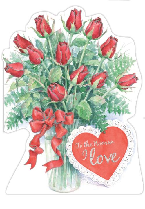 Vase of Roses- Woman I love- Carol Wilson Valentine's greeting card. Unit Quantity: 3. Retail: $4.49. Inside: You are the light of my life and the love...