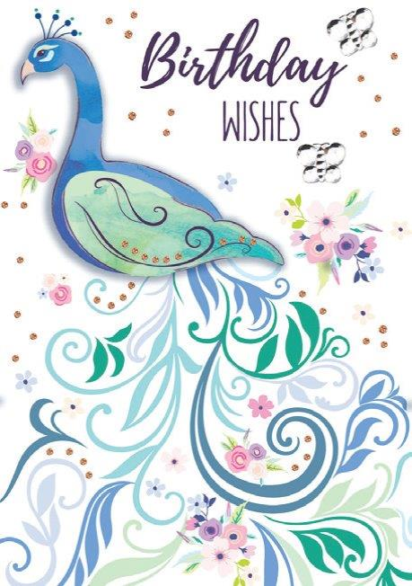 Blue Peacock themed birthday card from the Blush Collection by Carol Wilson Fine arts. Inside: ...Wishing you a beautiful day!  Unit pack of 6 cards. Retail: $4.49