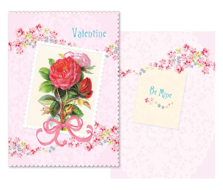Pink ribbon red rose- Carol Wilson Valentine's greeting card. Unit Quantity: 6. Retail: $4.25. Inside: Be mine.