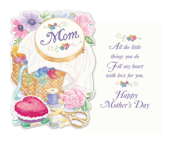 VINTAGE SEWING THEMED MOM MOTHER'S DAY embossed greeting card. Retail: $4.25