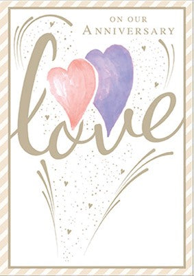 Anniversary greeting card Retail: $3.99 Unit pack 6 Inside: Thanks for loving me and all that you do...
