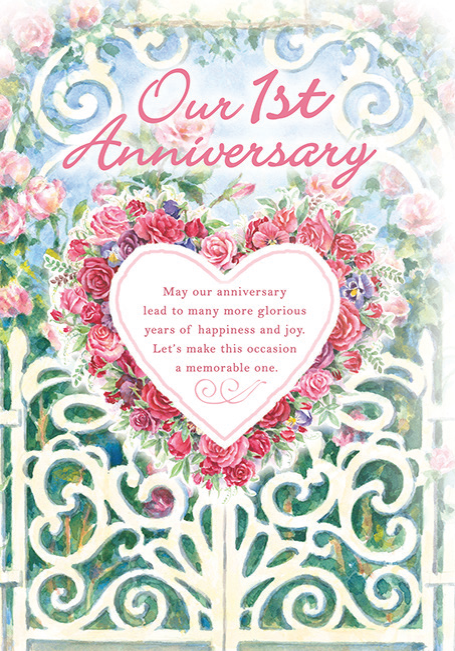 Rose arbor themed FIRST WEDDING ANNIVERSARY greeting card. Inside: The whole year has passed and you still take my breath away. Unit pack of 6 cards. Retail $3.99