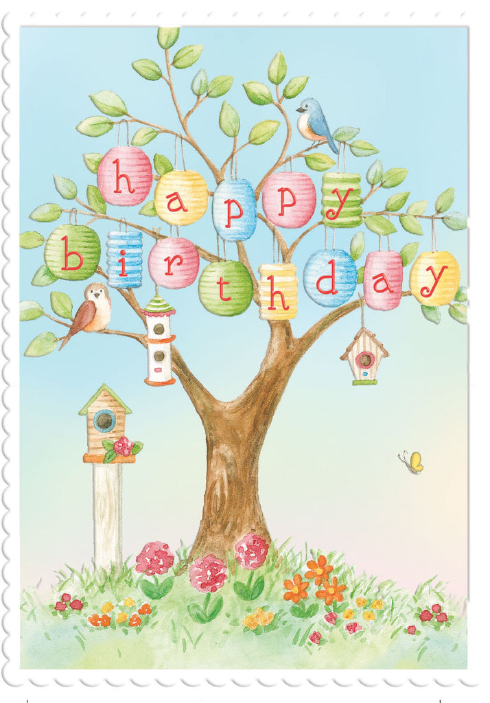 Whimsical tree house with happy birthday banner. embossed, die-cut birthday card from Carol Wilson Fine Arts. Inside: You make the world a brighter place. Happy Birthday! Retail: $4.25 Unit pack 6