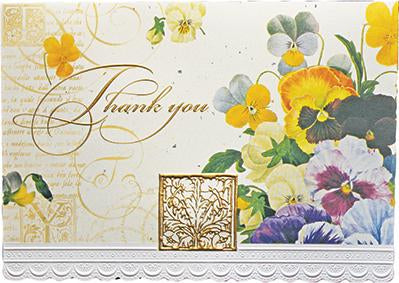 Colorful pansies with gold lettering and white lace border. Thank you card from Carol Wilson Fine Arts. Inside: ...so very much Retail: $4.25 Unit pack of 6