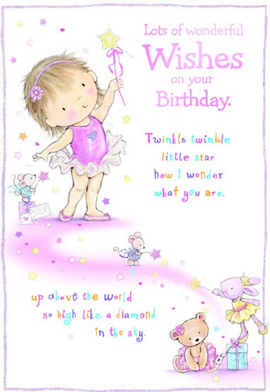 Twinkle Twinkle- Kid Birthday card. Retail $3.49. Unit Quantity 6. Inside: Up above the world so high, like a diamond in the sky.